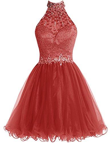 Dresstells®Vestido De Mujer 2016 Corto Halter De Tul Con Cuentas Espalda Abierta Rojo