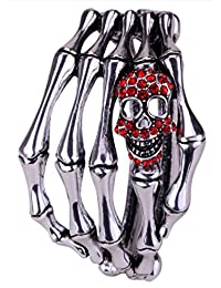 Angel Jewelry Women's Crystal Skull Skeleton Hand Bangel Bracelet