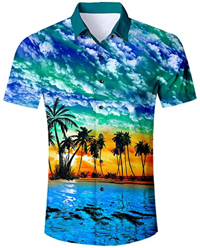 Coco Palms - Mens Tropical Blue Hawaiian 3D Casual Shirts Guys Party Coco Palm Button Down Tree Pattern Beach Aloha Holiday Blouse Clothing Tops