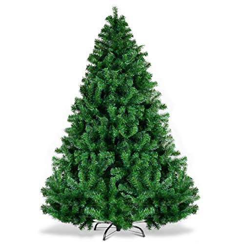 - Goplus Christmas Tree Unlit Artificial Premium Hinged Spruce Full Tree with Solid Metal Stand, 1000 Tips (6 feet, Classic Series)