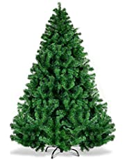 Goplus Artificial Christmas Tree, Unlit Premium Hinged Spruce Xmas Tree with Solid Metal Stand, for Outdoor and Indoor Decor