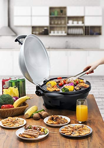 SENYA Barbecue électrique sur pied 2 en 1, barbecue de table avec couvercle détachable, surface de cuisson 44 x33 cm, plaque en fonte d'aluminium, thermostat réglable, 2400W, gris, SYCK-G045