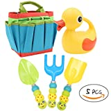 Apol Cute Gardening Tool Set for Kids Children Includes Duck Shape Watering Can Caterpillar Pattern Shovel Rake Trowel and Carry Bag Girls Boys Gift
