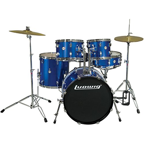 - Ludwig 5 Piece Accent Drive Drum Set with Hardware & Cymbals (Deep Blue)