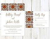Spanish Tile Wedding Invitation, Spanish Design Wedding Invitation, Deep Red and Orange Wedding Invitation