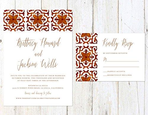 Spanish Tile Wedding Invitation, Spanish Design Wedding Invitation, Deep Red and Orange Wedding Invitation by Alexa Nelson Prints