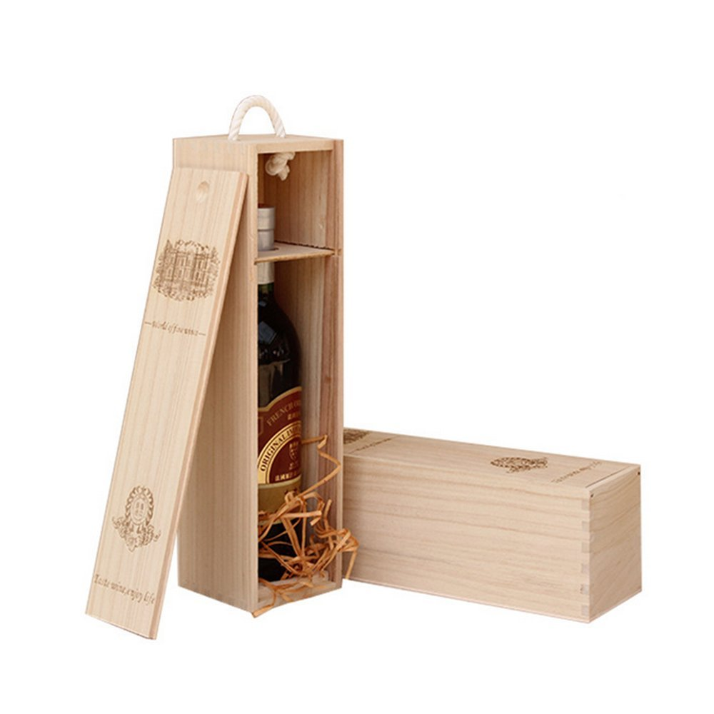 BaiJia Natural Wood Single Bottle Wine Box Carrier Crate Case Best Gift Decor by BaiJia (Image #2)