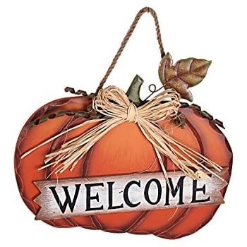 Wood Pumpkin Welcome Sign Harvest Hanging Wall Decoration Thanksgiving Day Door Decor (Low)