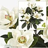 2' Magnolia Artificial Silk Flower Bushes (Cream) for Home, Garden and Decoration, with No Pot, (Pack of 4)