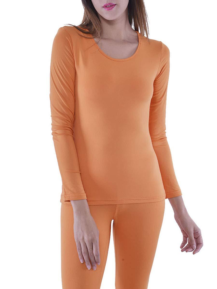 Women's Microfiber Fleece Thermal Underwear Long Johns AZ 2000 Orange XL
