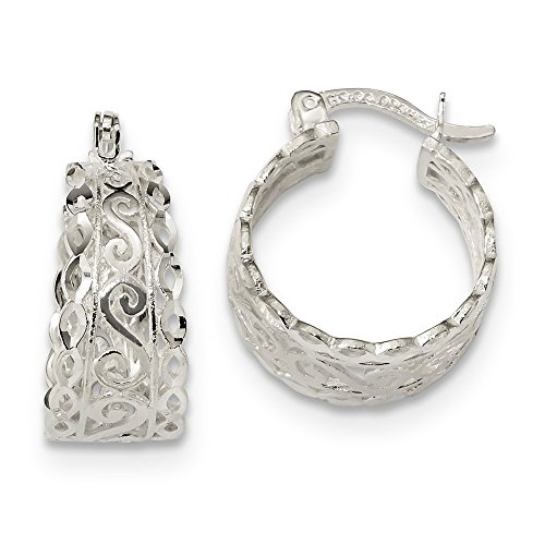 (925 Sterling Silver Diamond Cut Open Swirl Hoop Earrings (19.9x16.8mm))