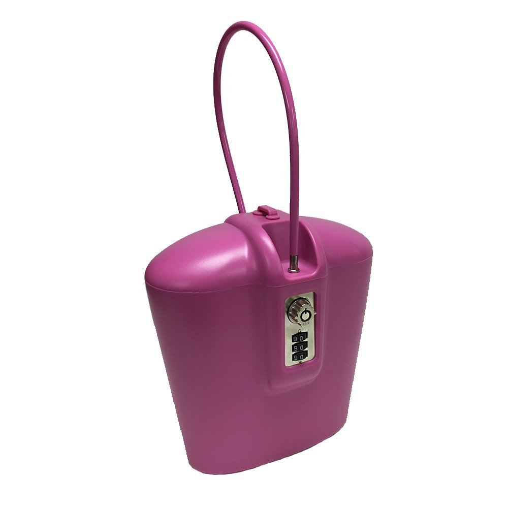SAFEGO Portable Travel Lock Box Safe with Key and Combination Access (Pink) PINK004