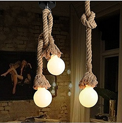 Borang Double Heads Retro Rope Lights Loft Vintage Lamp Bedroom Dining Room Pendant Hand Knitted Hemp Rope 200 Cm