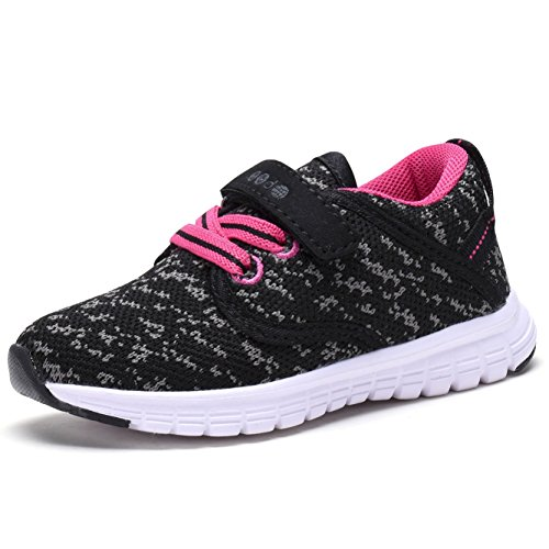 COODO CD3001 Litter Kids' Lightweight Sneakers UNI-Sex Kid's Cute Casual Sport Shoes New BLACK/FUCHSIA-11