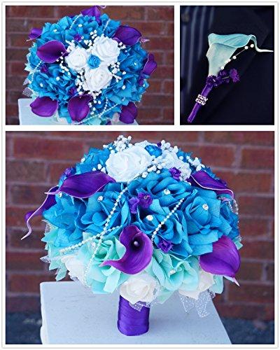 2pc-Set-Wedding-Bouquet-Boutonniere-Turquoise-Purple-Aqua-White-Rose-Calla-Lily