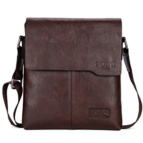 VICUNA POLO Shoulder Bag Business Man Bag Messenger Bag for Men Crossbody Bag (brown)