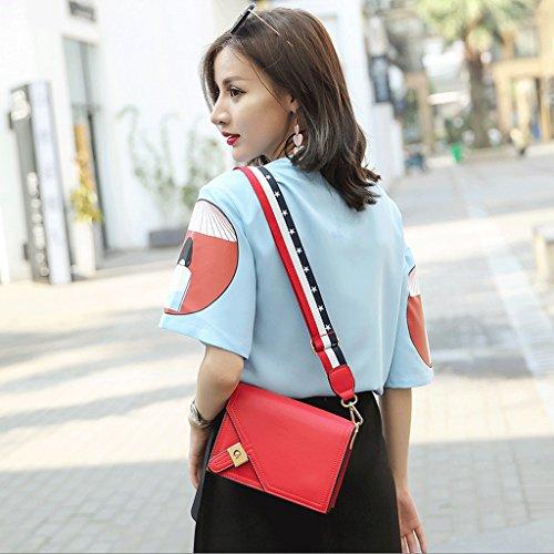 GuoFeng El Nuevo Paquete Retro Cuadrado de Cadena de Cerradura Personalizada, Bolso de Hombro Coreano, Bolsa de Mensajero Salvaje, Bolsos. (Color : Black) Red