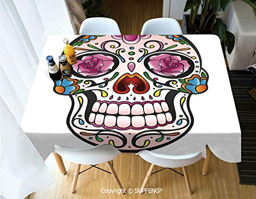 Rectangular tablecloth Spooky Sugar Skull with Pink Roses Twigs Blooms Teeth Smile Halloween Decorative (60 X 84 inch) Great for Buffet Table, Parties, Holiday Dinner, Wedding & More.Desktop decorati -