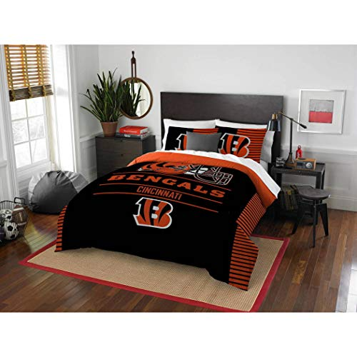 3pc NFL Bengals Comforter Full Queen Set, Polyester, Unisex, Team Logo Fan Merchandise Athletic Team Spirit Fan, Orange Black Football Themed Bedding Sports - Queen Bedding Comforter Football Nfl