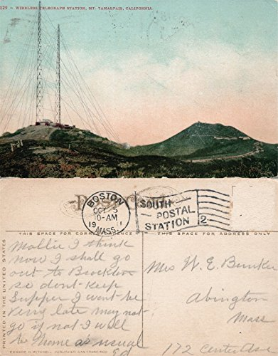 (MT.TAMALPAIS CA WIRELESS TELEGRAPH STATION 1911 ANTIQUE POSTCARD)