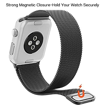 Apple Watch Band , Milanese Loop Mesh Smooth Stainless Steel Strap Freely Fully Magnetic Closure Clasp Metal Strap Wrist Band Replacement Bracelet for Apple Watch Band Series 3/2/1