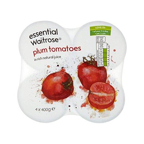 Peeled Plum Tomatoes essential Waitrose 4 x 400g - Pack of 4