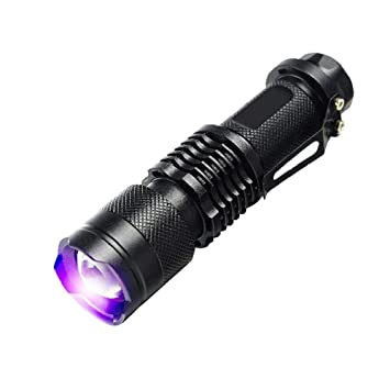Zoomable Led UV Flashlight Torch Light 365nm Ultra Violet Blacklight AA Battery