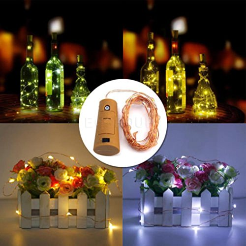 Transer 15 LED Cork Shaped LED Night Starry Light Wine Bottle Lamp for Xmas Party (Orange)