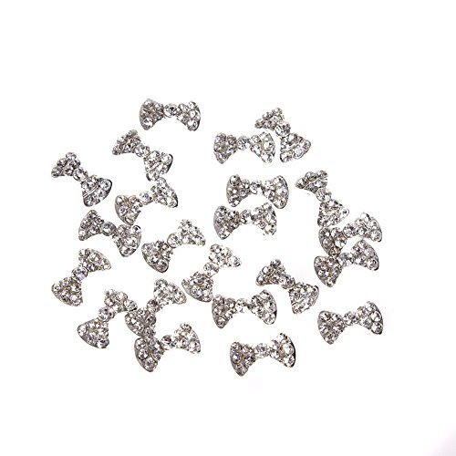 (GBSTORE 20 Pcs Special Charming 3D Nail Art Designs Nail Art Bow Tie Alloy Rhinestones DIY Decoration)