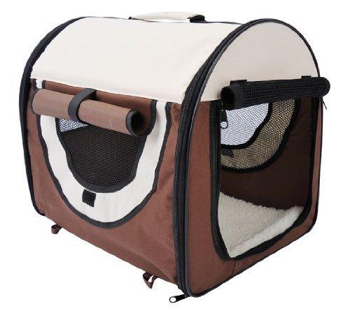 PawHut D1-0100 faltbare Transportbox für Haustier, kaffeebraun/creme