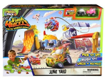 Wreck and repair your trash wheels with the Junk Yard Playset.