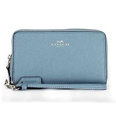Coach Crossgrain Leather Double Zip Phone Wallet F57467 Cornflower