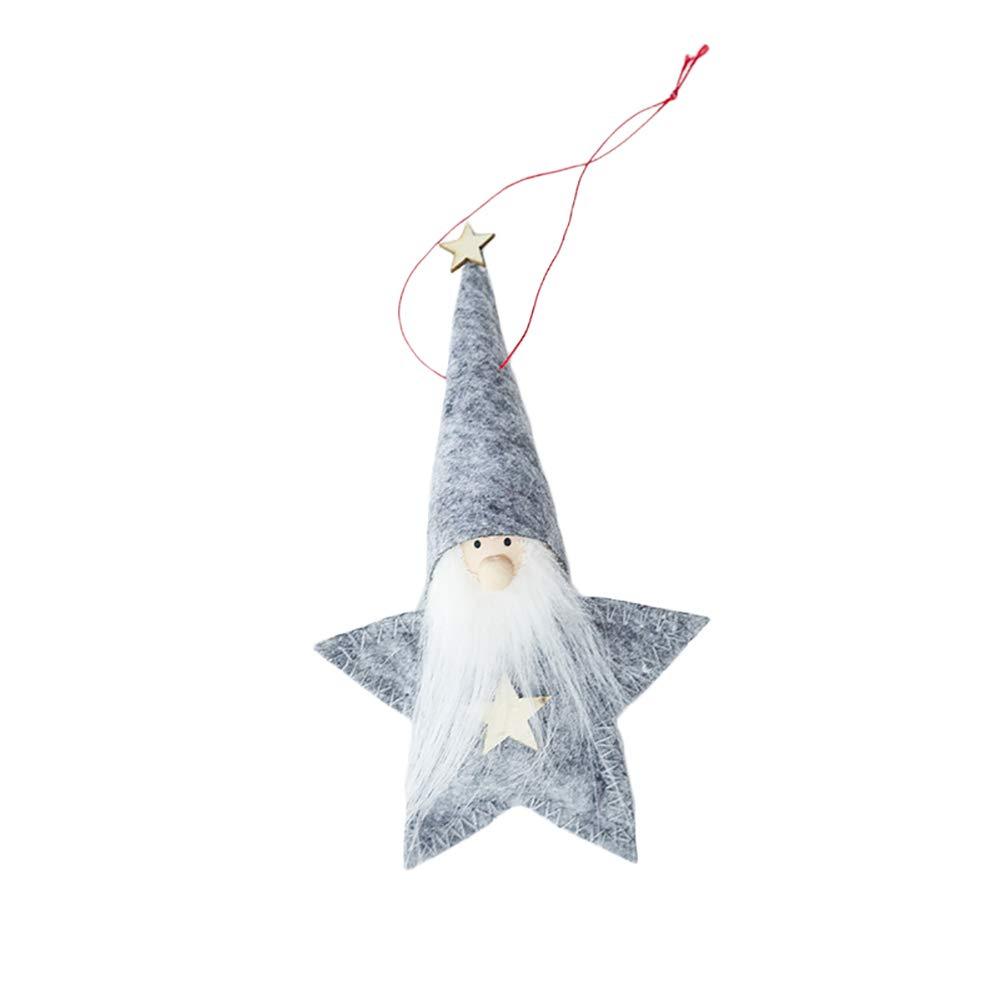 Geryy Weihnachtsbaum-Anhänger Puppe, niedliche Mini-Hexe, Oldtimer, Puppe, Spielzeug, hängende Party-Dekoration, Weihnachten 15 * 9CM Gray Five-pointed Star