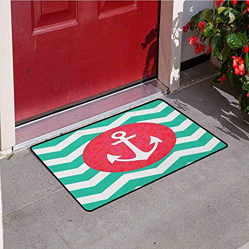 (Gloria Johnson Anchor Welcome Door mat Pattern of Anchors and Waves Stripes Classic Old Style Sailing Boat Swimming Door mat is odorless and Durable W31.5 x L47.2 Inch Red Jade Green)