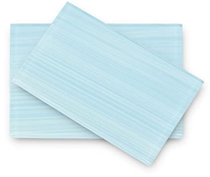 Haven Light Blue Hand Painted Glass Tile Perfect For Kitchens And Bathrooms 2x12