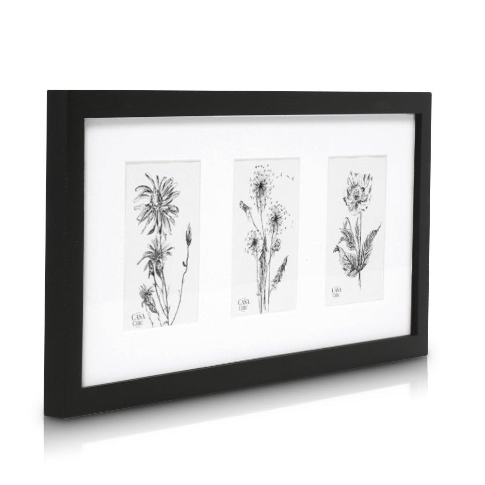 Cadre multi photo pour 3 Photos 10 x 15 cm (cadre triptyque) ou une photo panoramique - Bois de Pin MASSIF - Vitre en plexiglas - Système d'accroche inclus - Profil de Cadre 2 cm ! - Noir product image