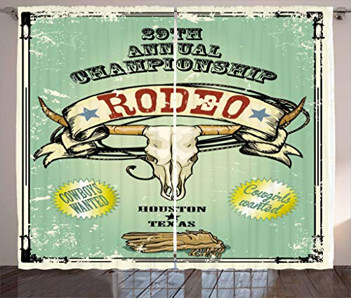 "Ambesonne Western Curtains, Retro Style Rodeo Championship Poster Bull Skull Large Horns with Banner Grungy, Living Room Bedroom Window Drapes 2 Panel Set, 108"" X 84"", Seafoam Charcoal"