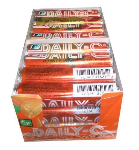 Daily-C, жевательные Витамин С, 14 шт ролл (в упаковке 24)