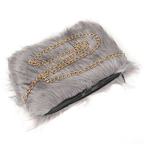 Shoulder Gold Faux Fur Lady's Grey Hotstylezone Chain Bag Zip Fluffy Purse Bag Women Uk 0qERnwnB