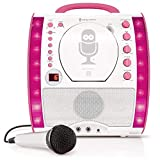 The Singing Machine SML343 Portable CDG + Bluetooth Karaoke System with LED Disco Lights and Microphone - White