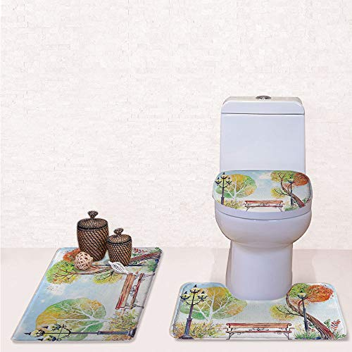 Print 3 Pieces Bathroom Rug Set Contour Mat Toilet Seat Cover,Colorful Fall Trees Wooden Bench Lantern in Park on Blue Sky Street Lamps Decorative with Orange Yellow Green,decorate bathroom,entrance