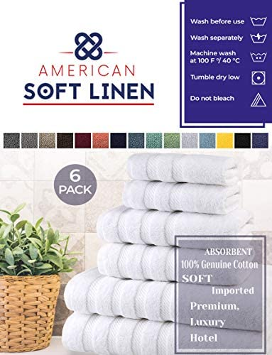 American Soft Linen 6-Piece 100% Turkish Genuine Cotton Premium & Luxury Towel Set for Bathroom & Kitchen, 2 Bath Towels, 2 Hand Towels & 2 Washcloths [Worth $72.95] - Bright White