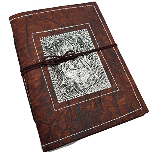 Jaipur Nagri Handmade diary journal writing notebook,Daily note pad for men & girls size 8 x 6 inches, Handmade Sheet Cover, Lord Ganesha Metal Emobsses Plate on the top, Best Gift by Jaipur Nagri