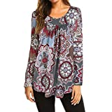 Hmlai Women Autumn Fashion O-Neck Flare 3/4 Flare Sleeve Slim Fit Blouse Shirt Tee Floral Print Swing Tunic Tops (S, Style 2-Gray)