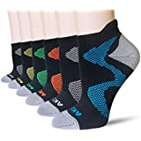 AKOENY Women's Performance Athletic Low Cut Running Tab Socks, Black, Size 9-11, 6 Pairs