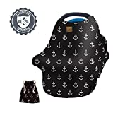 Nautical Stretchy Multi Use Carseat Canopy, Nursing Cover, Shopping Cart and High Chair Cover, Anchor Scarf, Baby Shower Gift for Girls or Boys, Fits Infant Car Seat, for Breastfeeding Moms