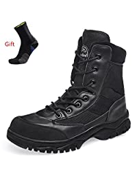 AiDELi Steel Toe Work Boots for Men,Fire Safety Military Tactical Boots,Tall Ankle Cuff+ Side Zipper