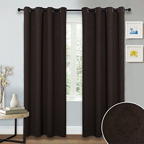 Insulated Blackout Curtains and Drapes - NICETOWN Energy Smart Paisley Damask Design Embossed Grommet Blackout Drapery Panels for Living Room, Assorted Color(Set of 2,52-Inch x 84-Inch,Toffee Brown) (Curtains Black Paisley)