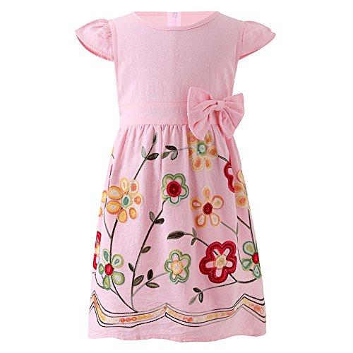 SMILING PINKER Toddler Girls Dress Casual Embroidered Floral Boho Vintage Dresses(Pink and Red,1-2T)
