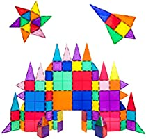 PicassoTiles 100 piece set Magnet Building Tiles Clear 3D color Magnetic Building Tiles - Creativity beyond Imagination!...
